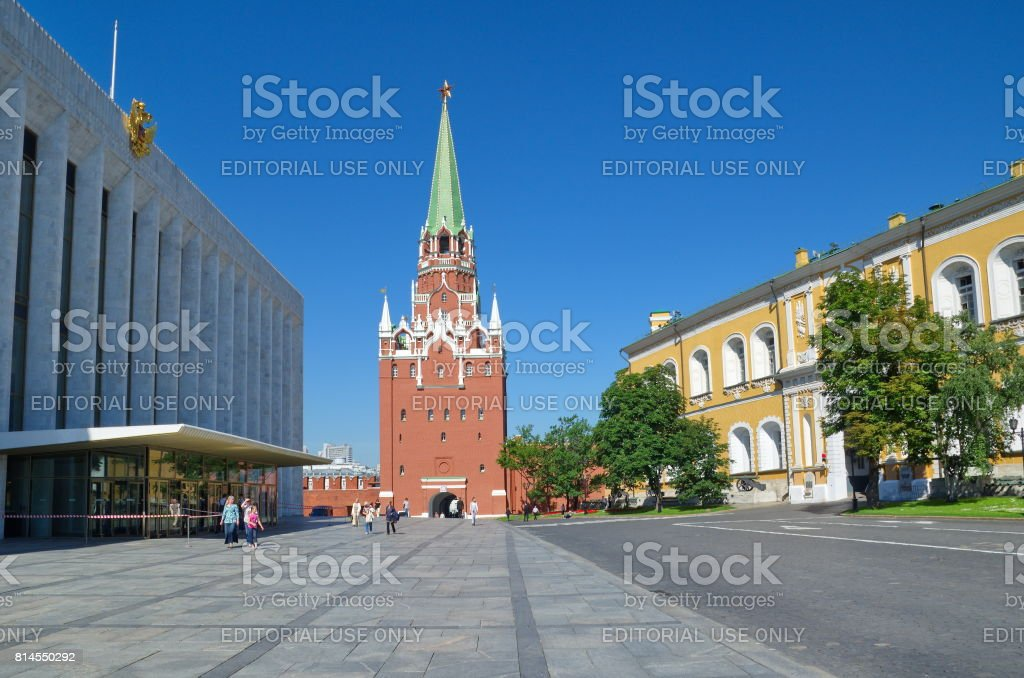 Troitskaya tower of the Moscow Kremlin, Moscow, Russia stock photo