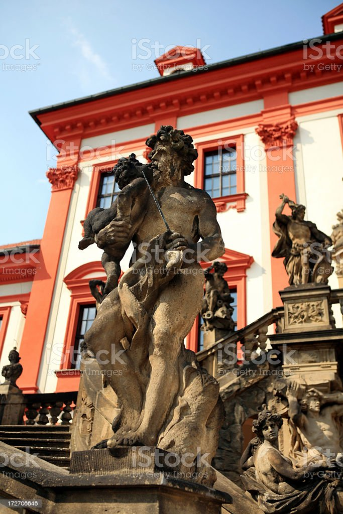 Troja Palace Balcony Statues Prague royalty-free stock photo
