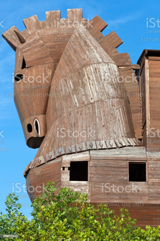 Trojan Horse located in Troy, Turkey stock photo