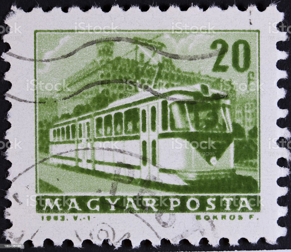 Trolley bus on stamp royalty-free stock photo
