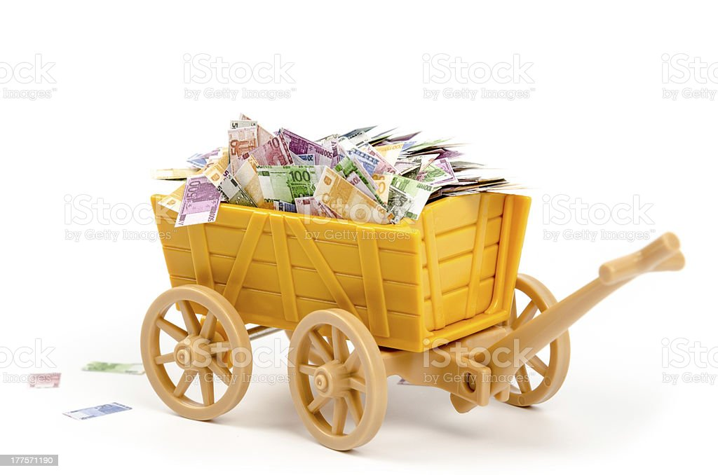 Trolley full of euro notes royalty-free stock photo