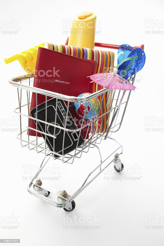 Trolley full of items for holiday royalty-free stock photo