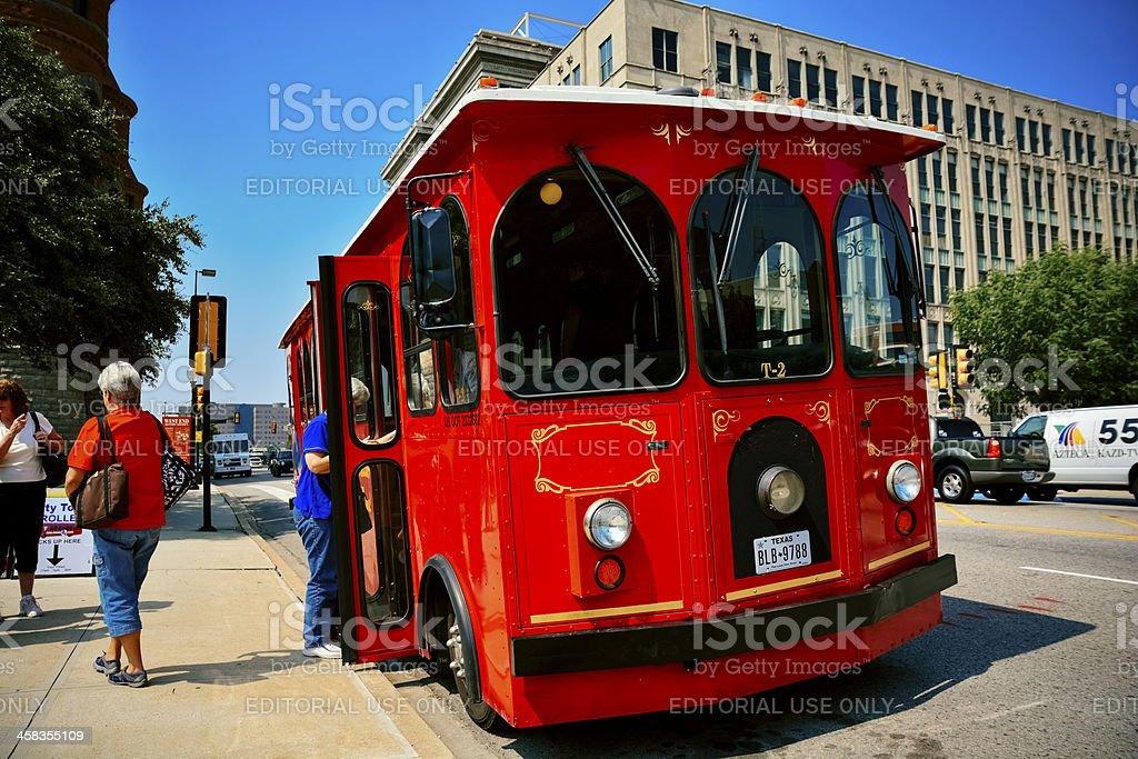 Trolley in Dallas stock photo