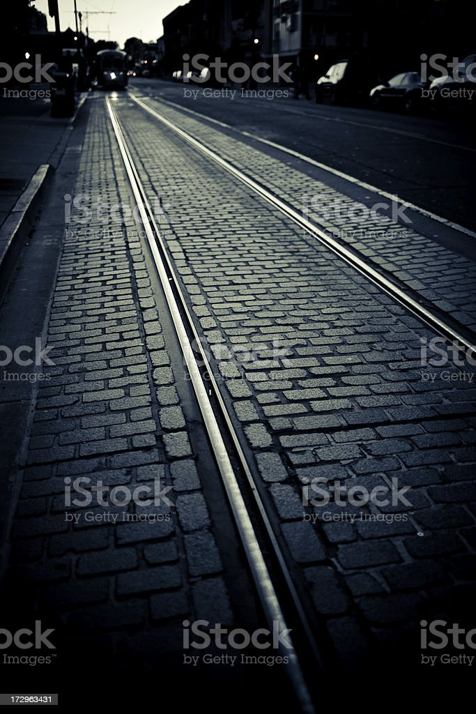 trolley lines stock photo