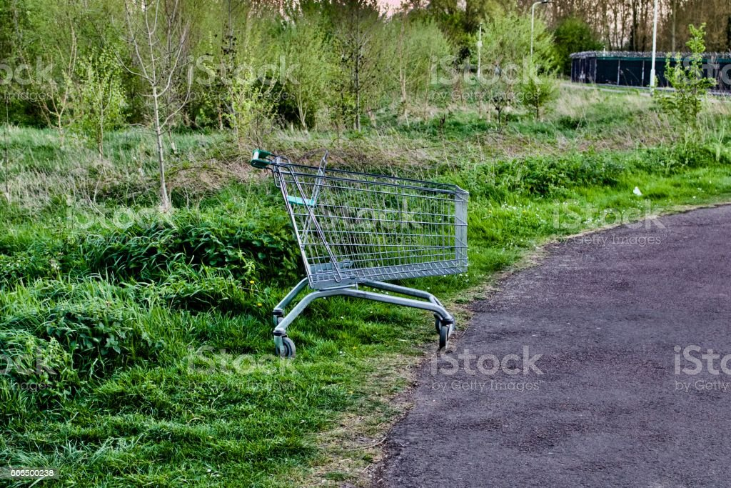 Trolley on the grass stock photo