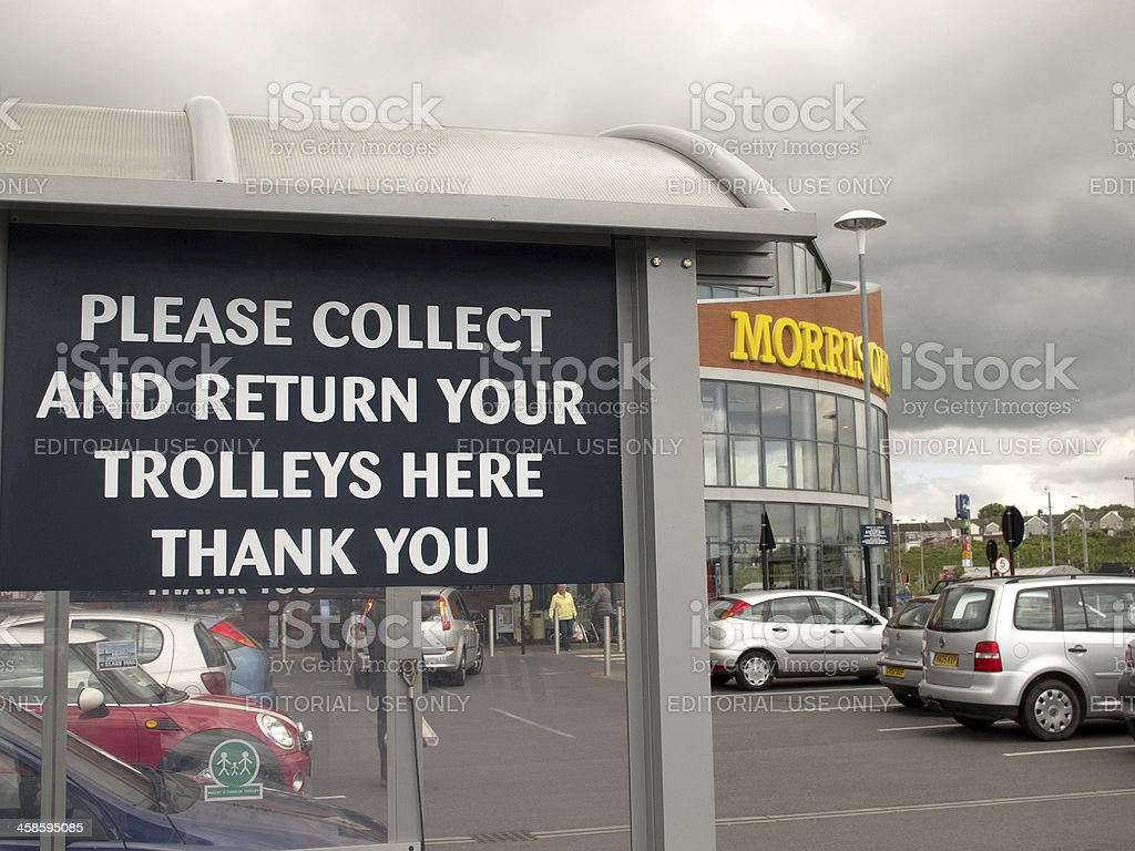 Trolley return sign at Morrisons Supermarket royalty-free stock photo
