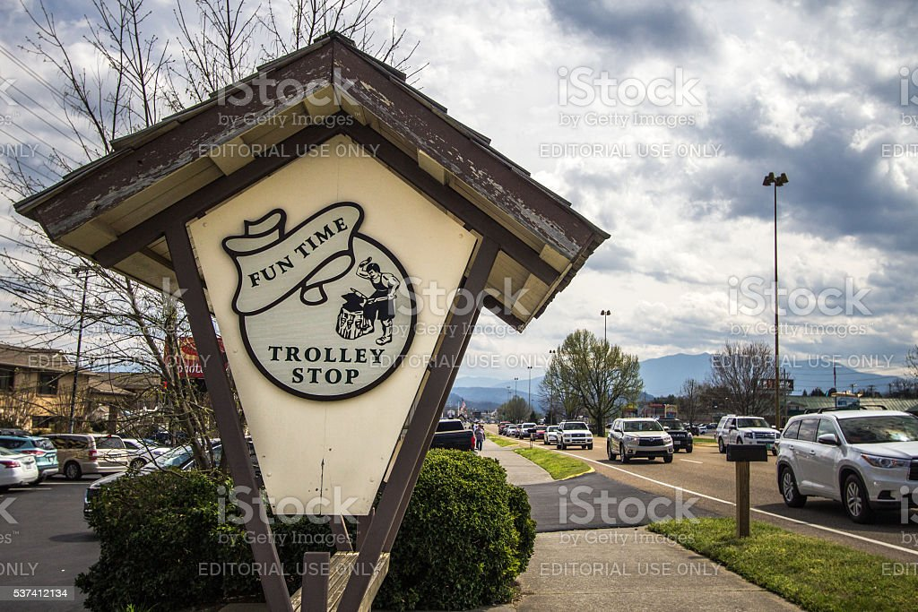 Trolley Stop In Pigeon Forge Tennessee stock photo