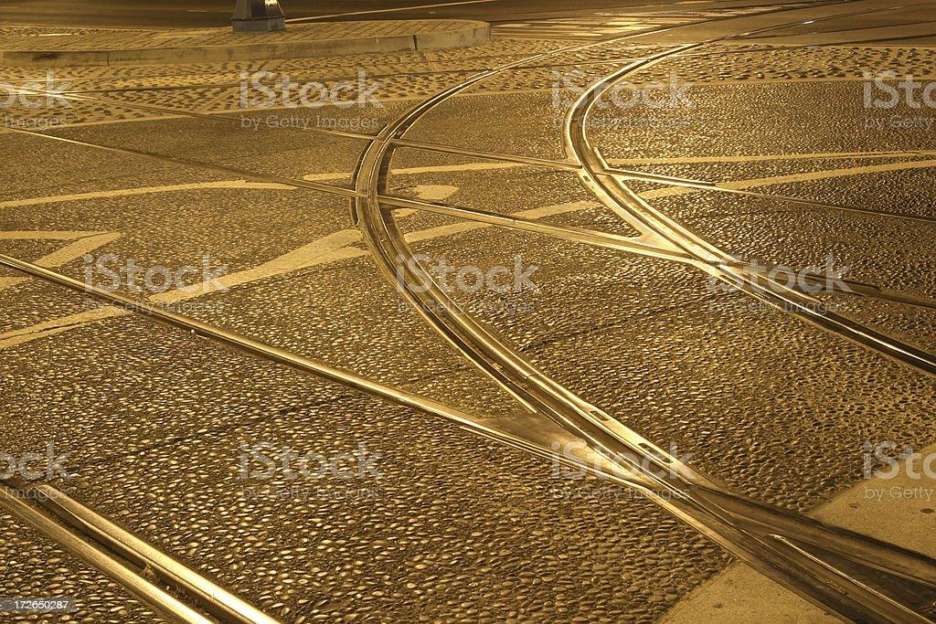 Trolley tracks at night royalty-free stock photo