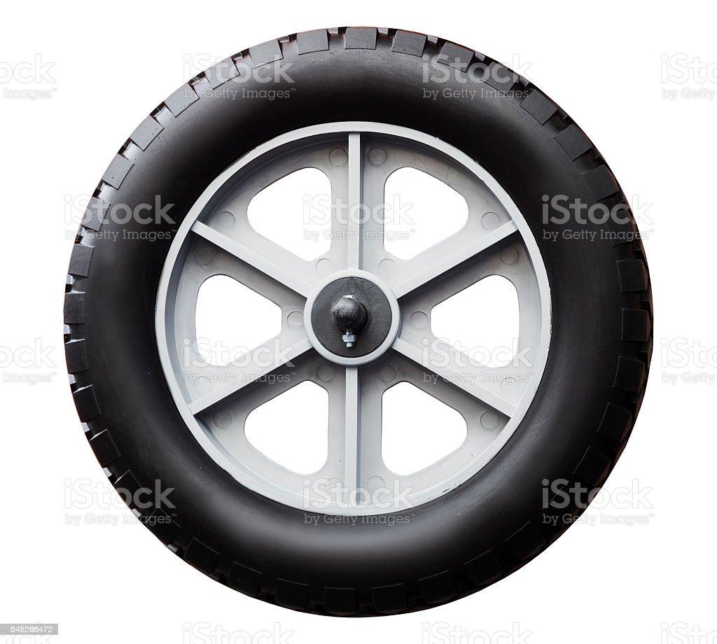 Trolley wheel isolated on white background stock photo