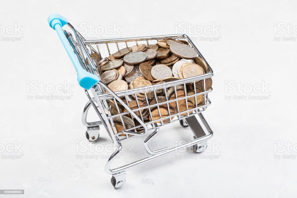 trolley with russian coins on concrete board stock photo