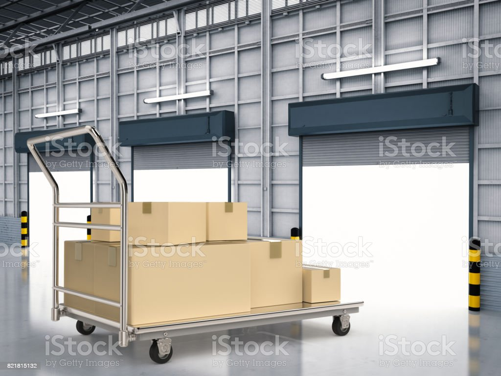trolley with storage boxes stock photo