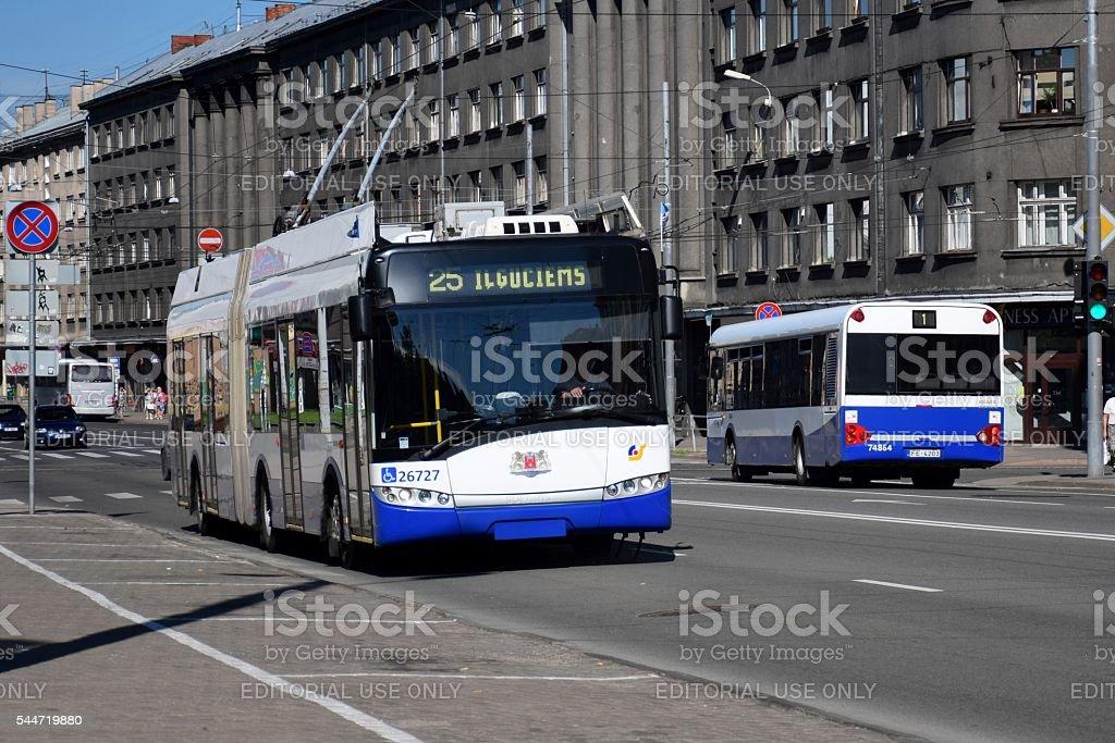 Trolleybus on the street stock photo