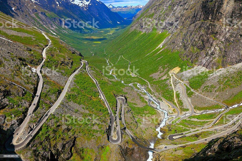 Trollstigen - Trolls Ladder dramatic mountain Road landscape, Norway, Scandinavia stock photo