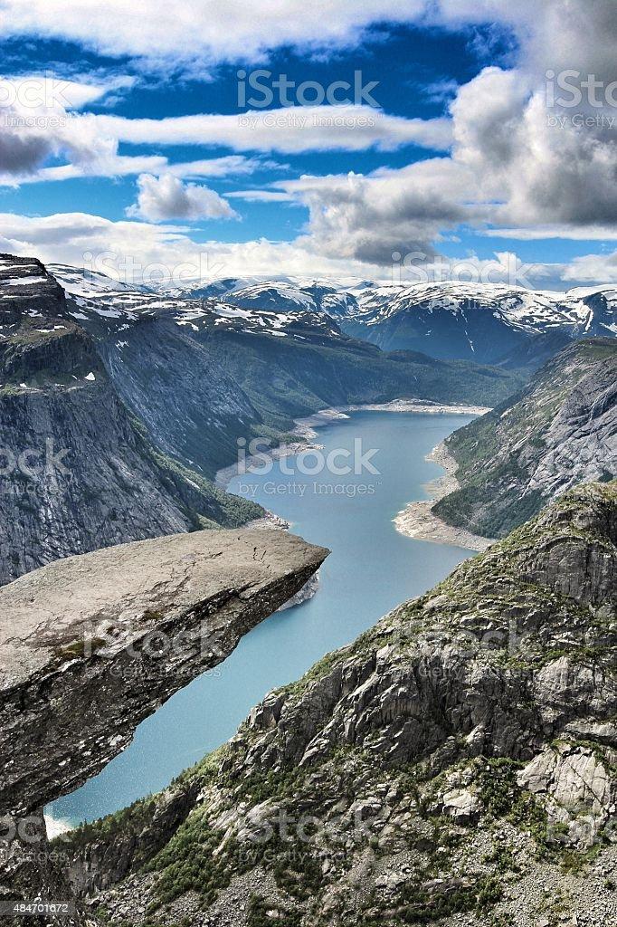 Trolltunga in Odda, Norway stock photo