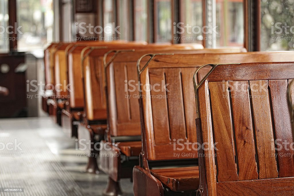 trolly seats stock photo