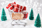 Trolly With Christmas Gifts And Snow, Text 2017