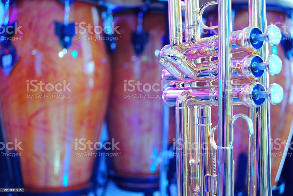 trombone and congas stock photo