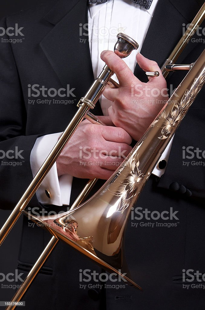 Trombone and tux royalty-free stock photo
