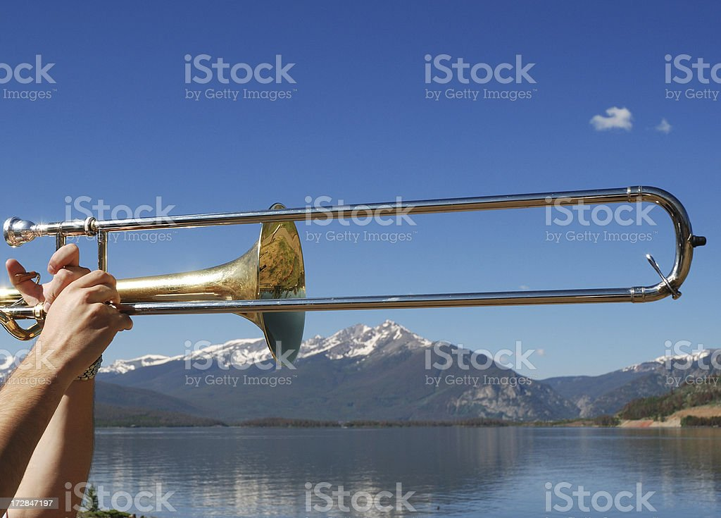 Trombone in the Mountains stock photo