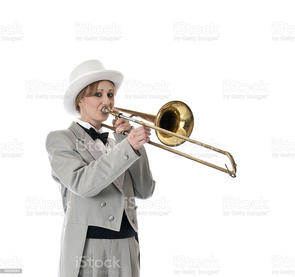 Trombone player with a smile. royalty-free stock photo