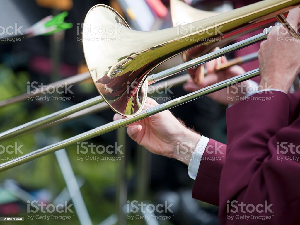 Trombone Players in a Brass Band stock photo