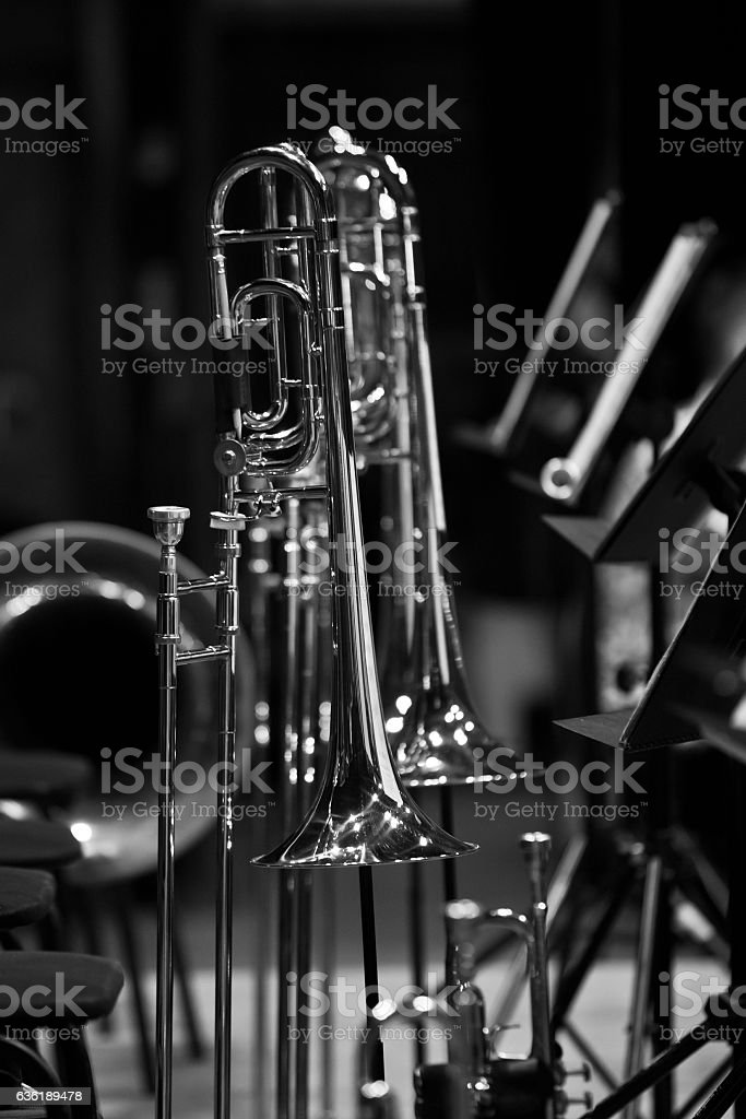 Trombones on stage in a symphony orchestra stock photo