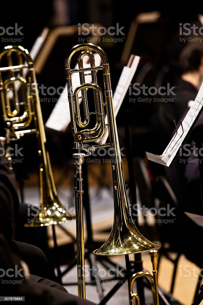 Trombones on stage in Symphony orchestra stock photo