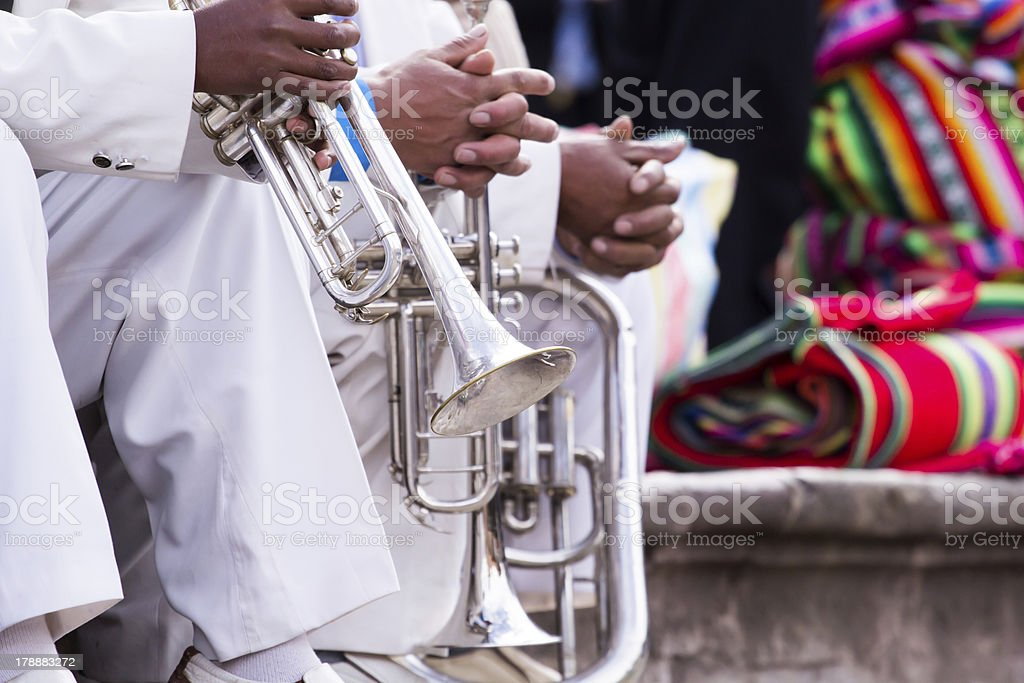 Trombones playing in a big band. royalty-free stock photo