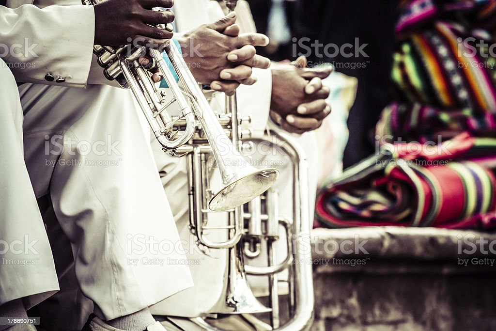 Trombones playing in a big band. stock photo