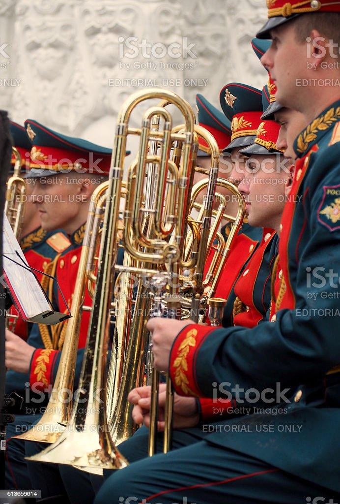 Trombonists stock photo