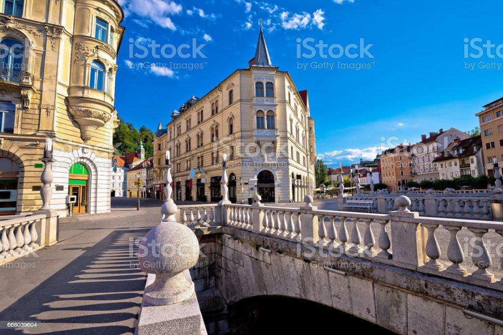Tromostovje square and bridges of Ljubljana, capital of Slovenia stock photo