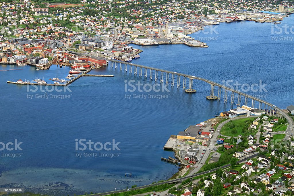 Tromso bridge aerial royalty-free stock photo