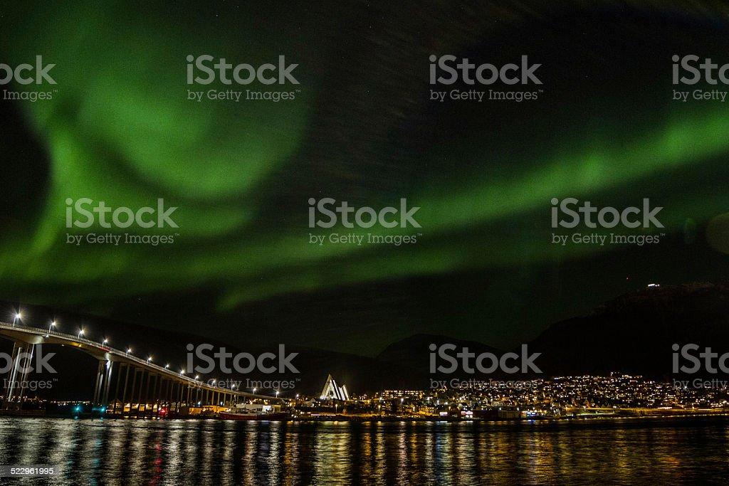 Tromso, city of northern light stock photo
