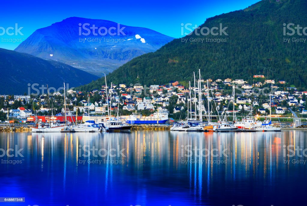 Tromso city with yachts background stock photo
