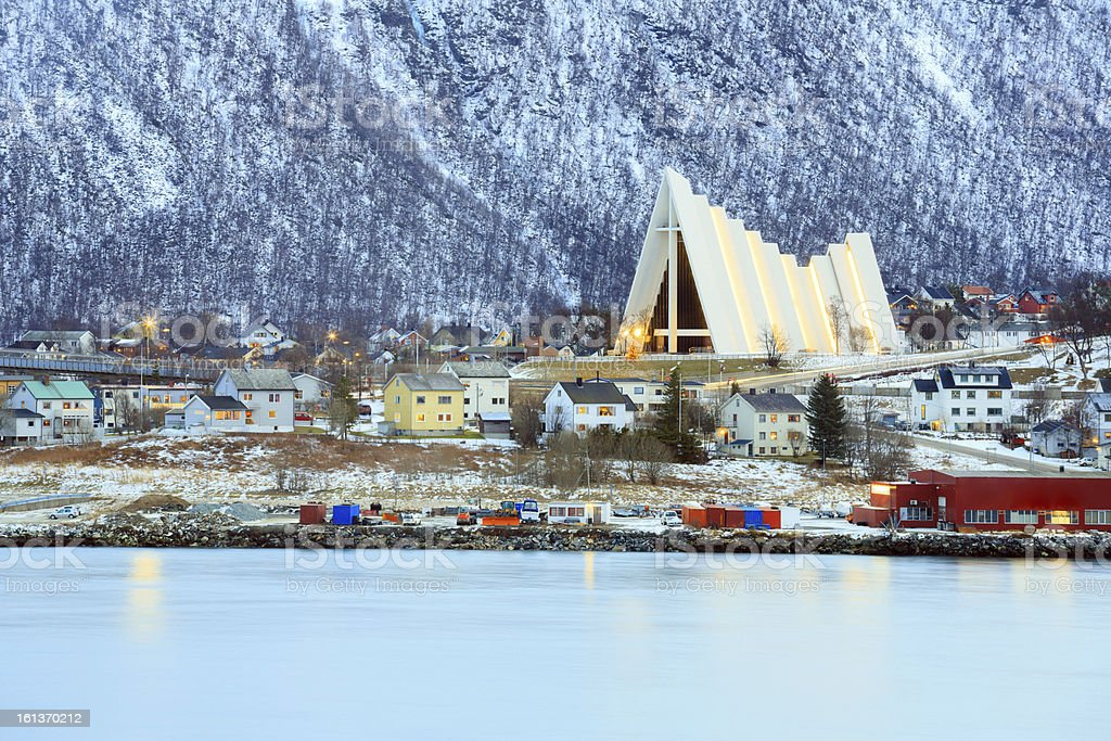 Tromso Cityscape Arctic Cathedral stock photo