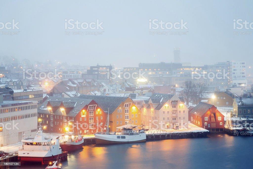 Tromso Cityscape winter mist Norway stock photo