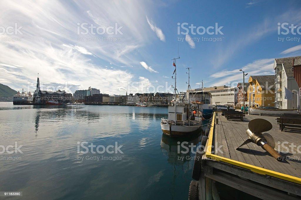 Tromso Harbour, Norway stock photo