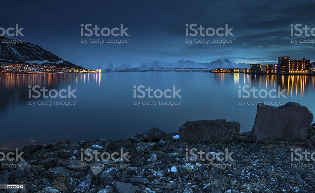 Tromso Waterfront at Night. stock photo