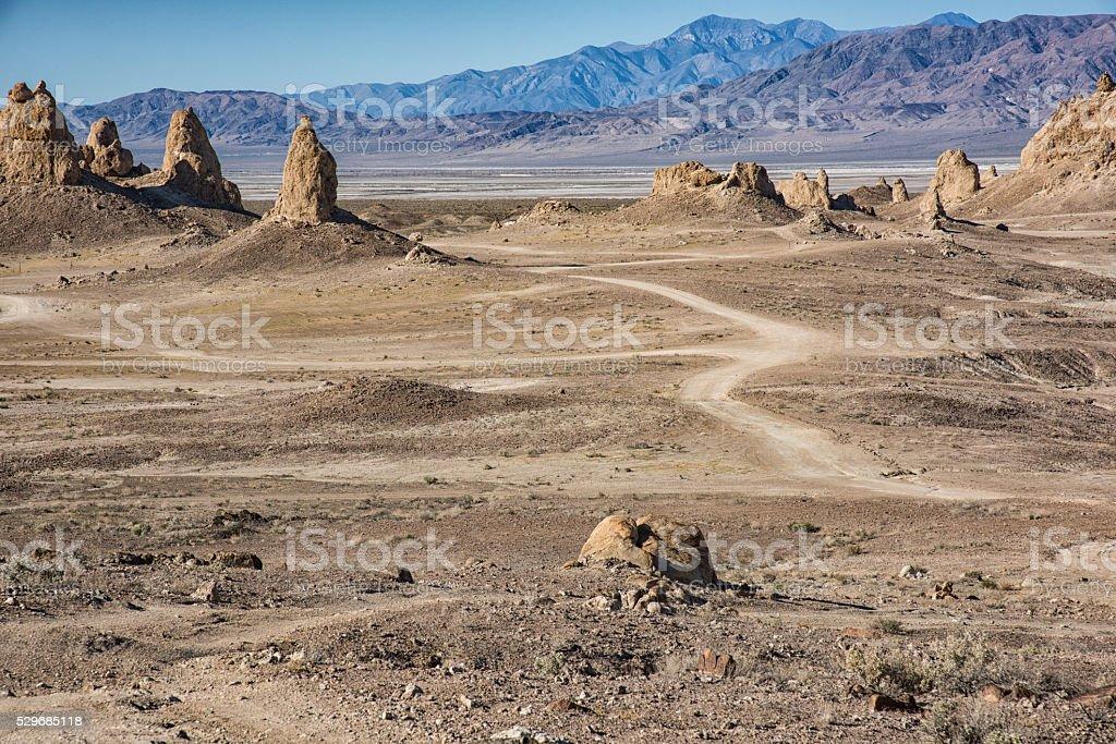 Trona Pinnacles National Landmark in the California Desert stock photo