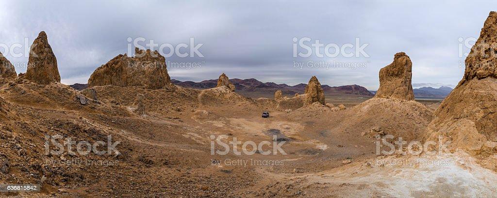 Trona Pinnacles Panorama stock photo