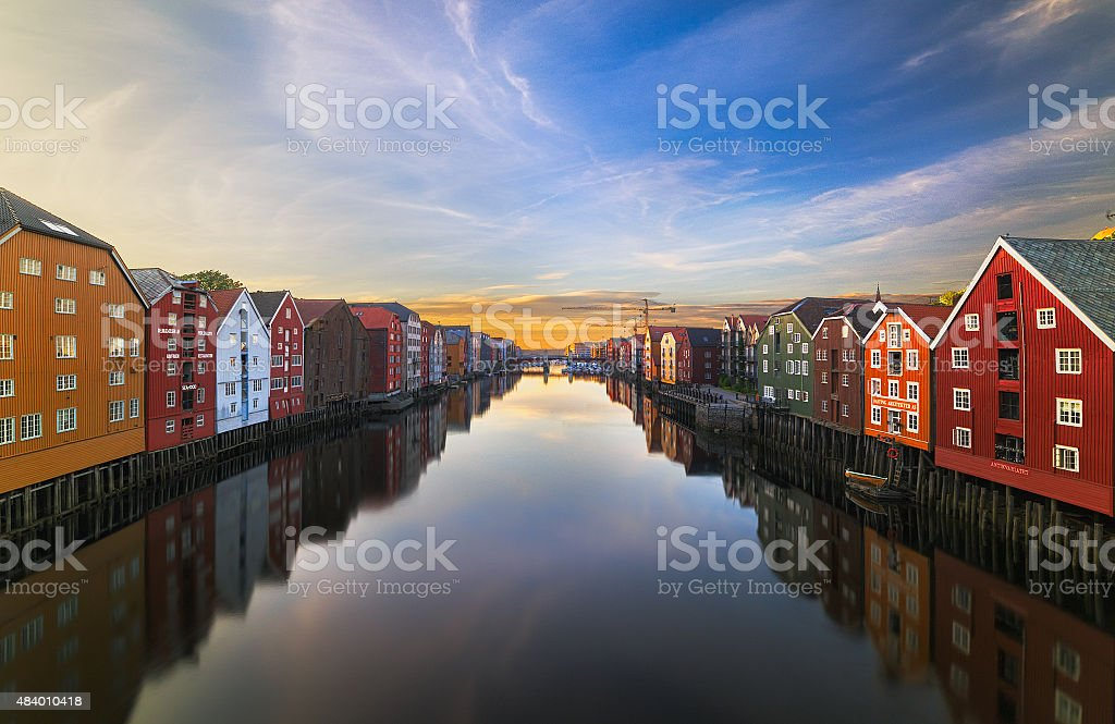 Trondheim at Sunset stock photo