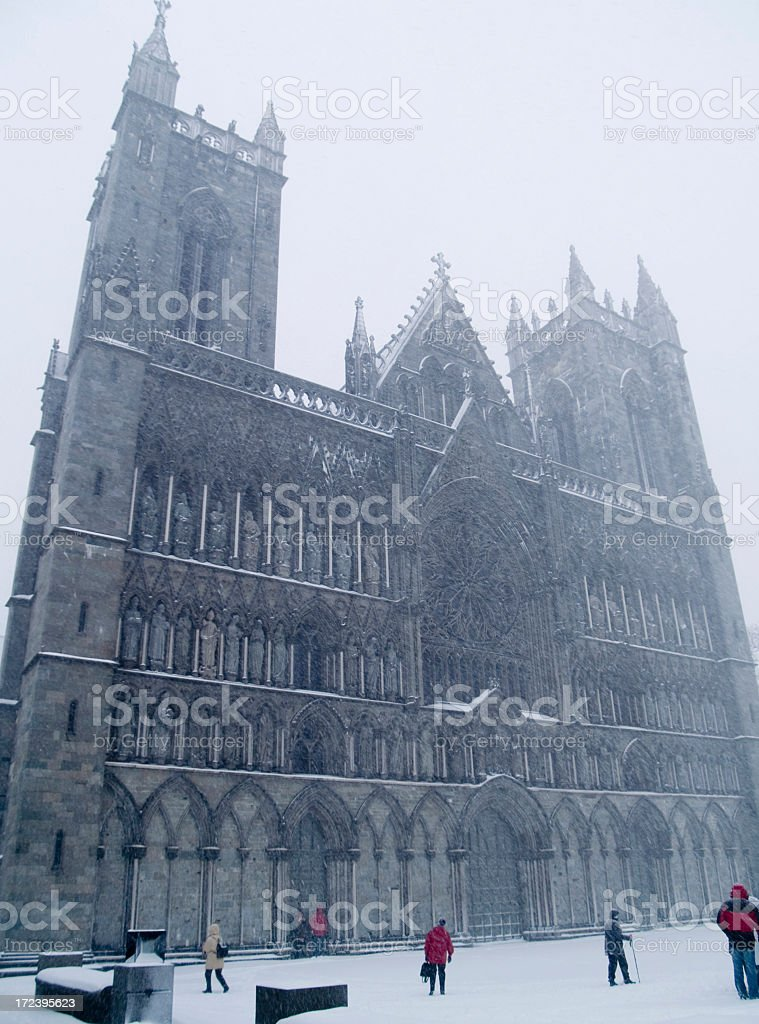 Trondheim cathedral in snowstorm stock photo