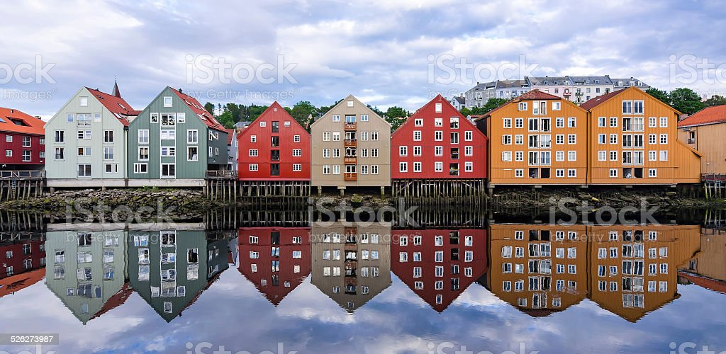 Trondheim city architecture stock photo