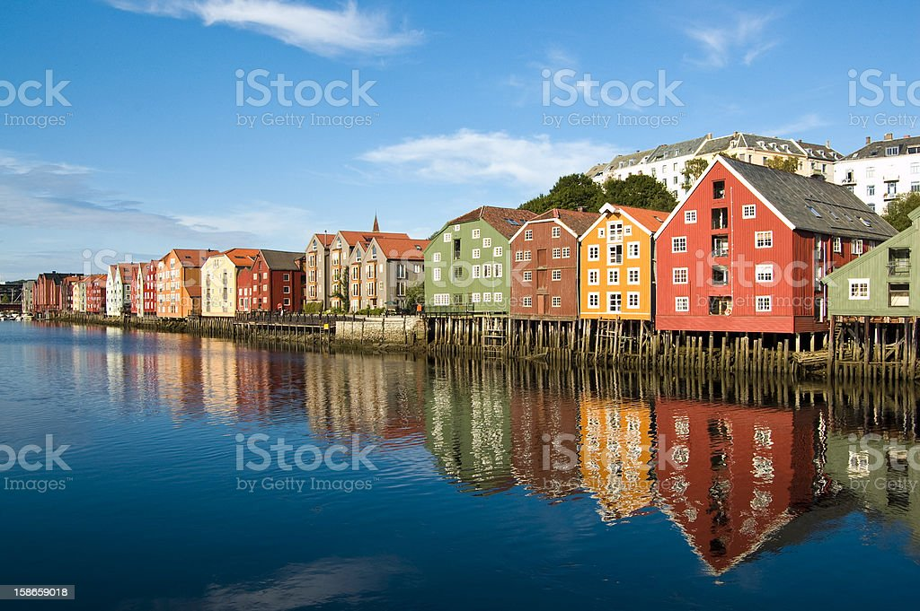 Trondheim old Town stock photo