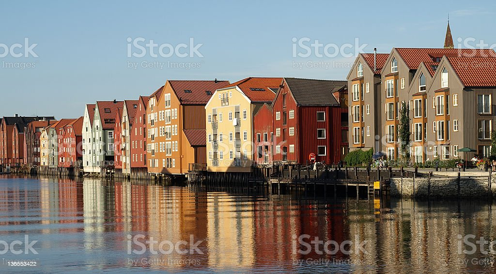 Trondheim Wharf Buildings stock photo
