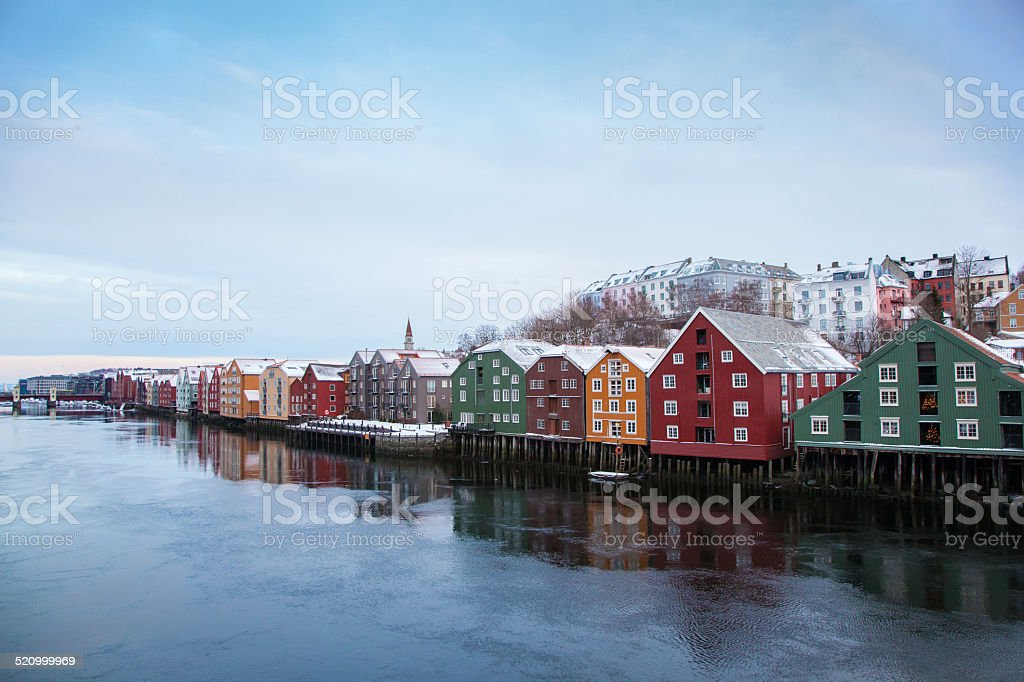 Trondheim winter cityscape Norway stock photo