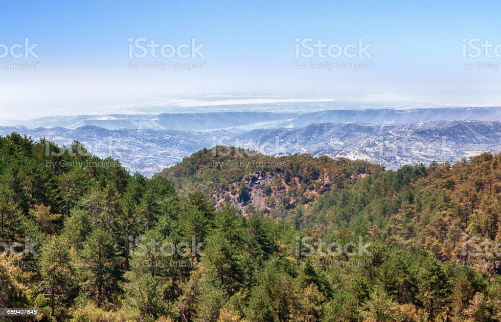 Troodos. Cyprus summer landscape panorama. High angle view. stock photo