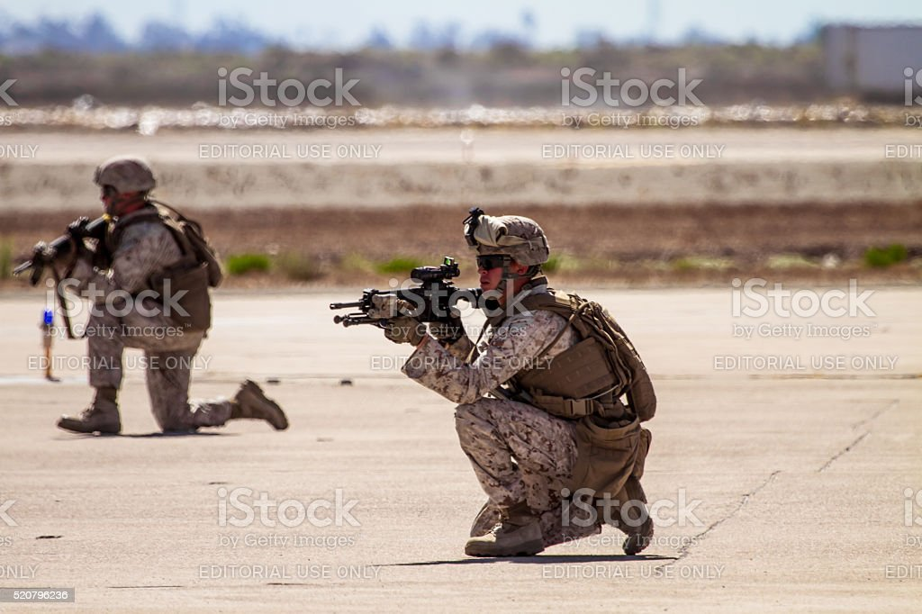 Troop soldiers demo team performing a live fire stock photo