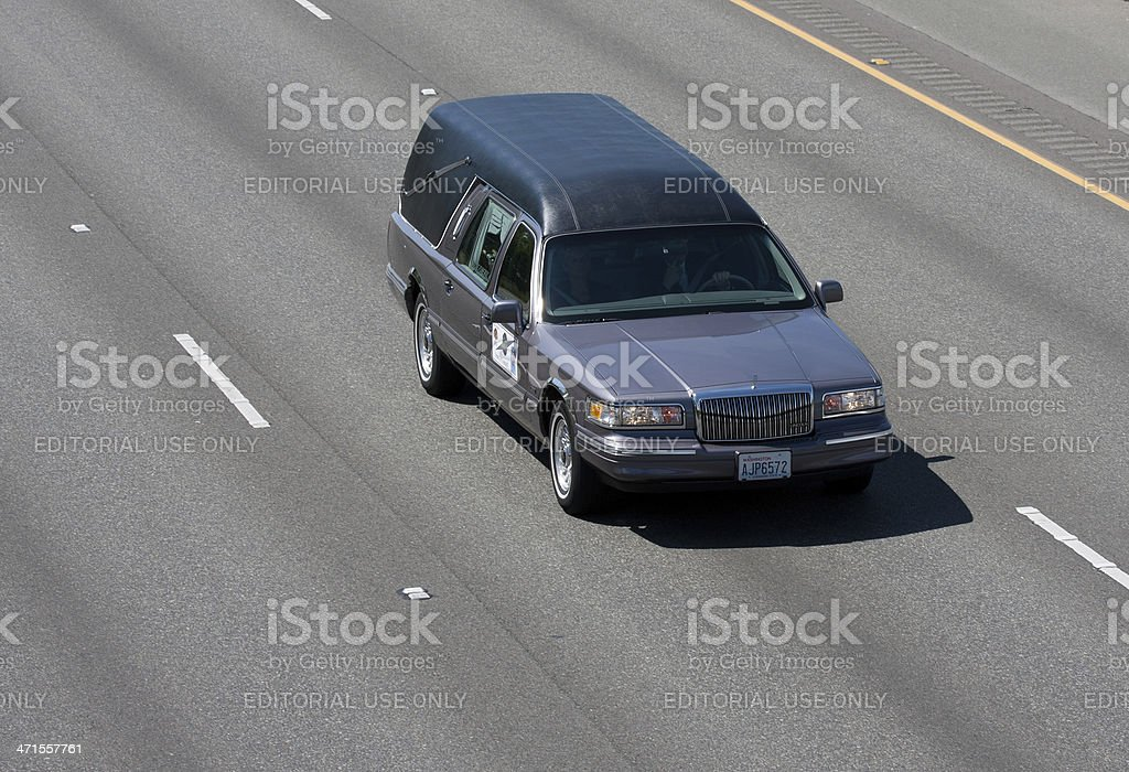 Trooper O'Connell's Hearse In Motorcade 6-6-13 stock photo