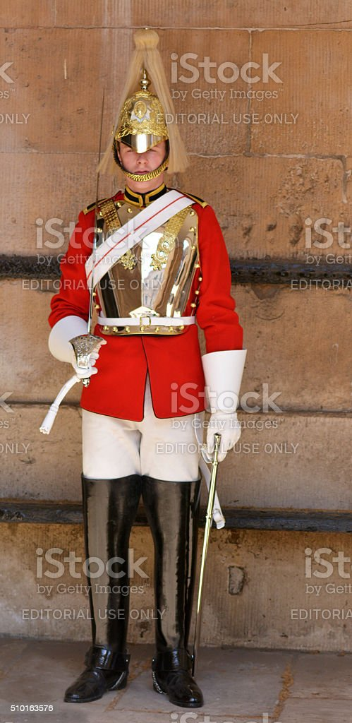 Trooper of the Blues and Royals performing ceremonial duties at stock photo